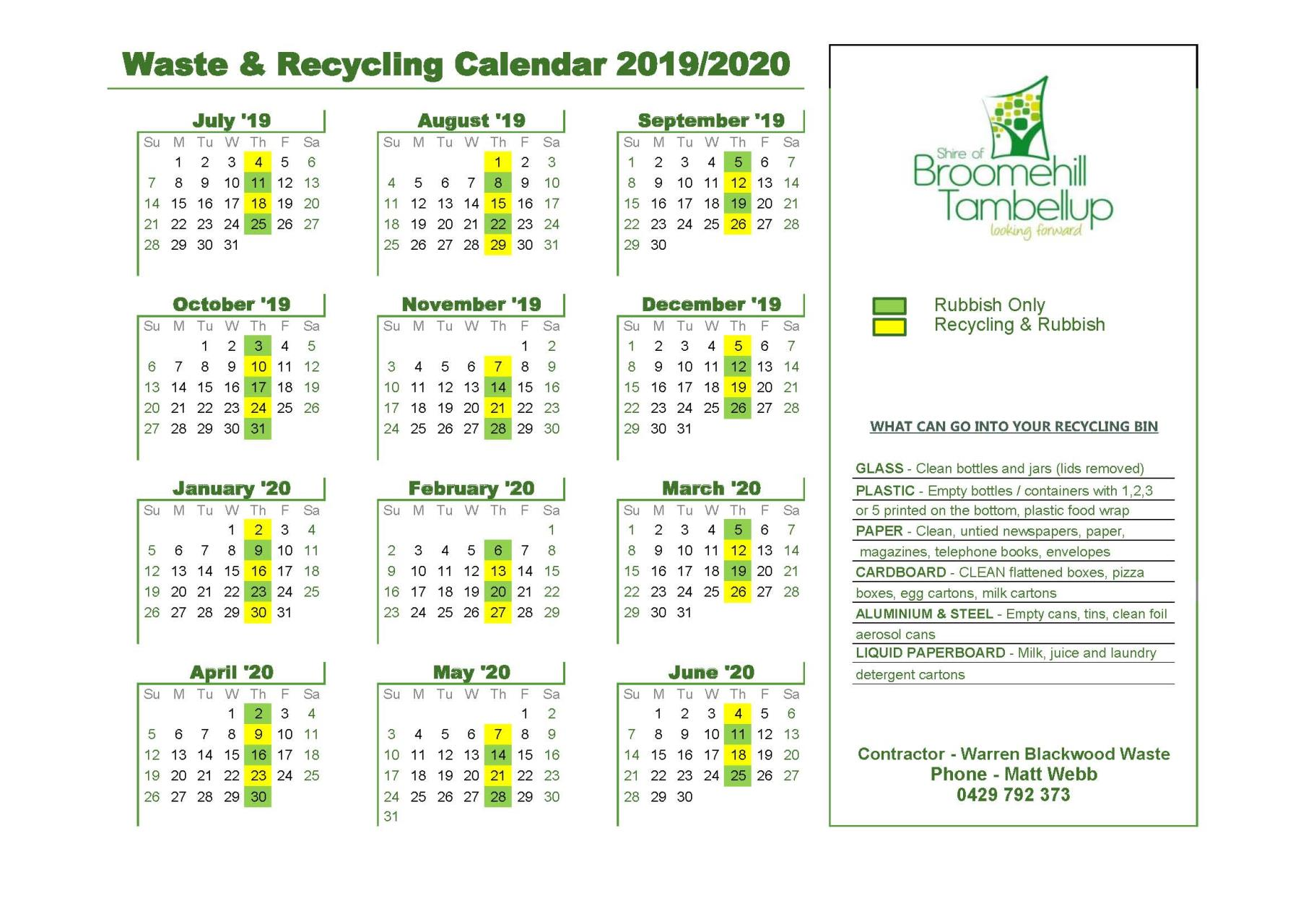 Waste & Recycling Calendar 2019/2020